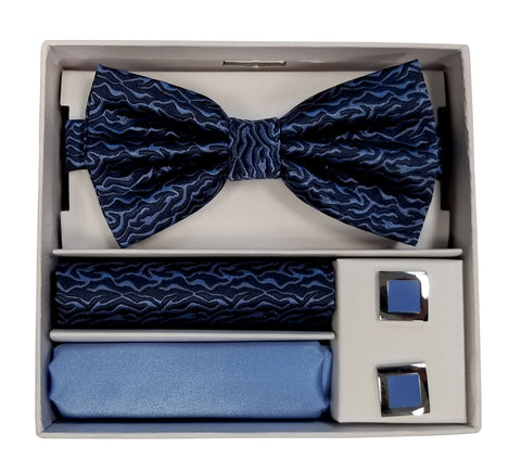 Adolfo Wavey Pattern Bow Tie Hanky & Cufflink Box Set - ABS70643