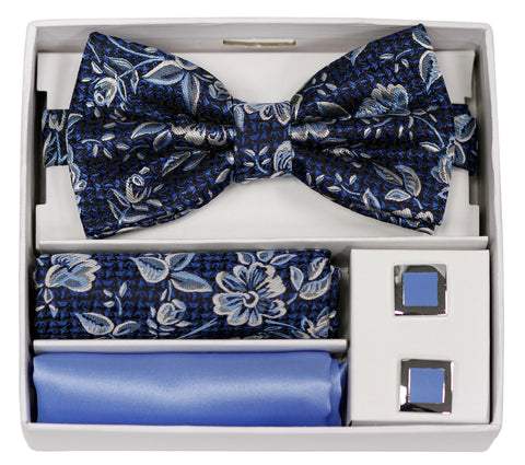 Adolfo Fancy Flower Bow Tie Hanky & Cufflink Box Set - ABS70624B