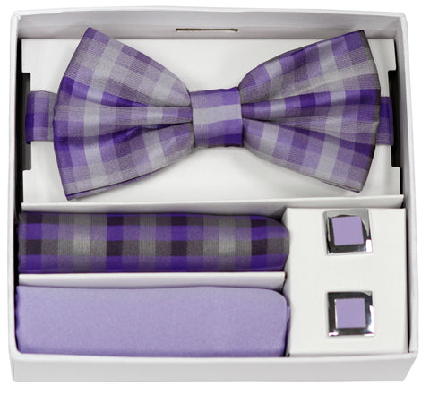 Adolfo Plaid Pattern Bow Tie Hanky & Cufflink Box Set - ABS46681