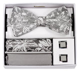 Adolfo Fancy Flower Design Bow Tie Hanky & Cufflink Box Set - ABS70623B