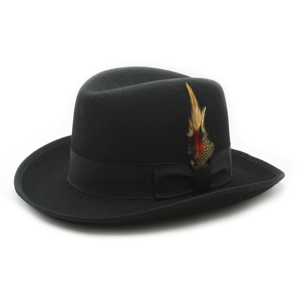 Ferrecci Authentic Black Wool Felt Homburg Godfather Hat - Ferrecci USA