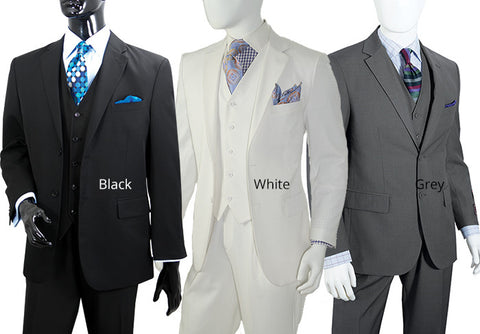 NYMSuits Exclusive 2 Button Mens 3 Piece Suit - C805FV