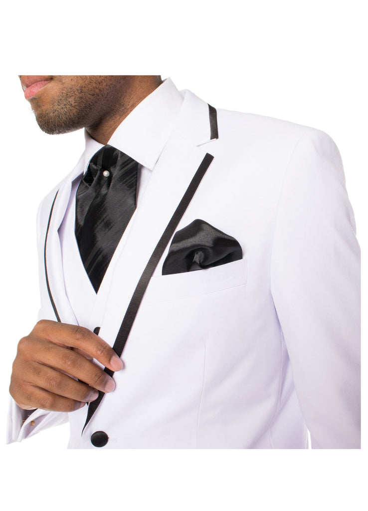 Celio White & Black 3pc Slim Fit Tuxedo - Ferrecci USA