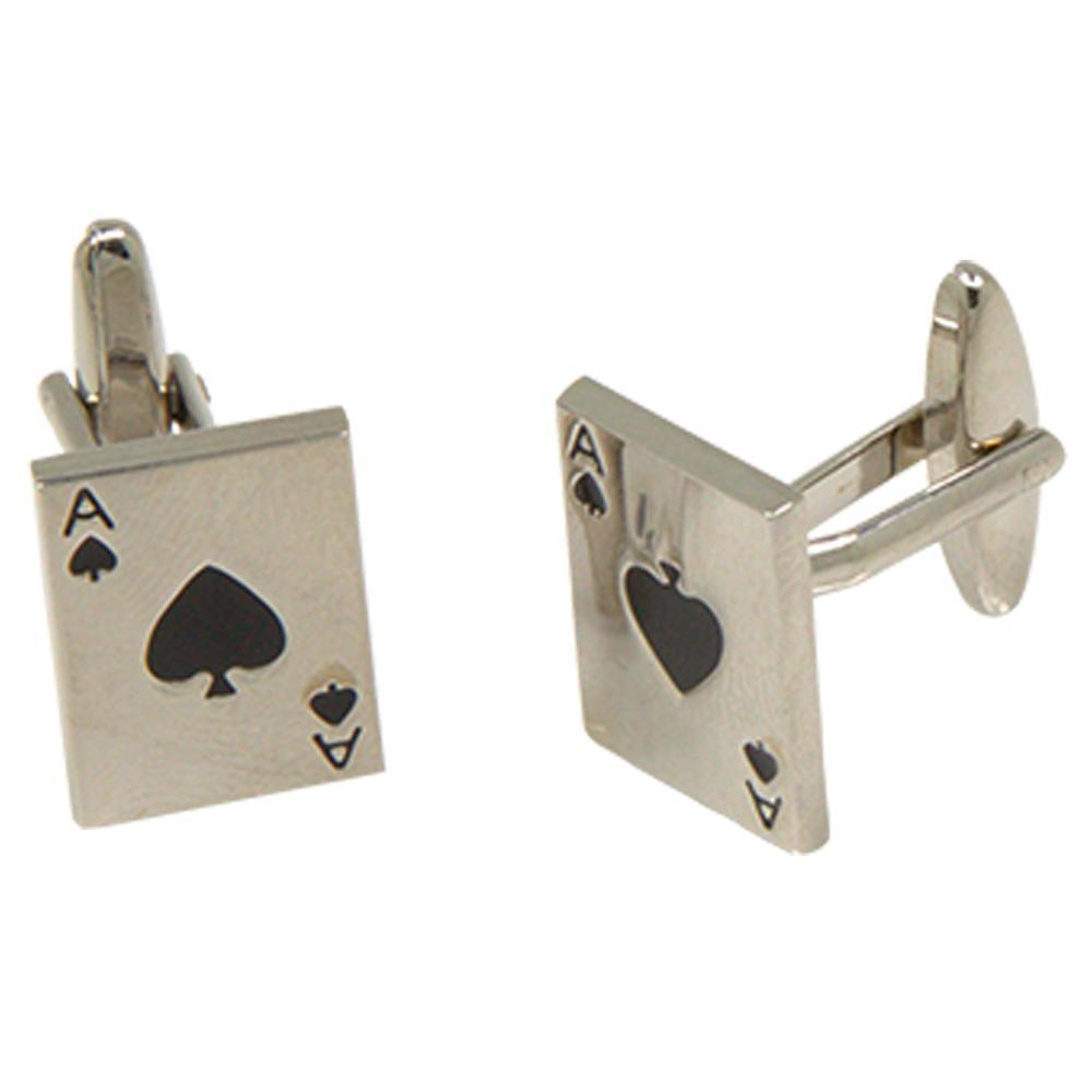Silvertone Novelty Ace of Spades Cufflinks with Jewelry Box - Ferrecci USA