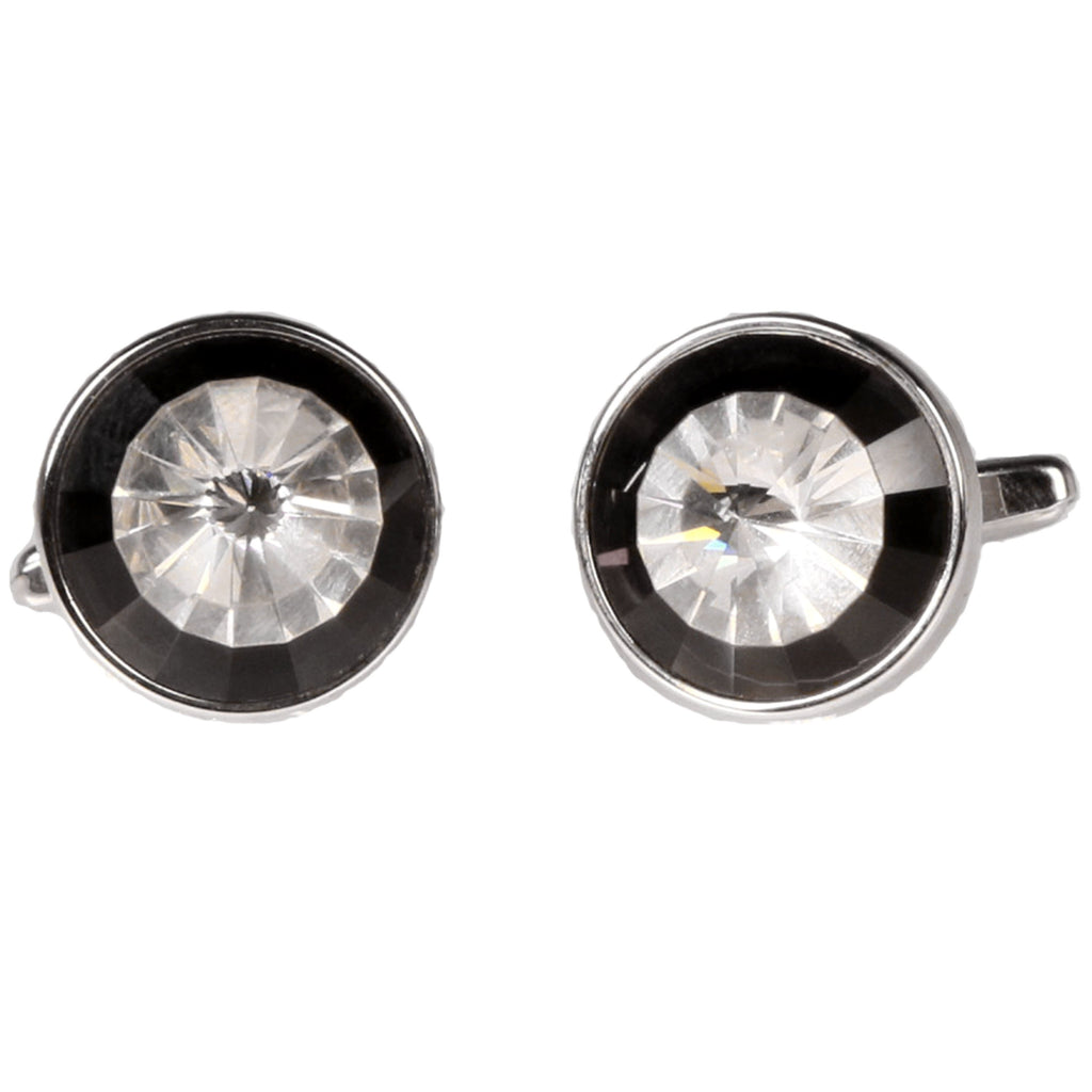 Silvertone Circle Burgundy Stone Cufflinks with Jewelry Box - Ferrecci USA