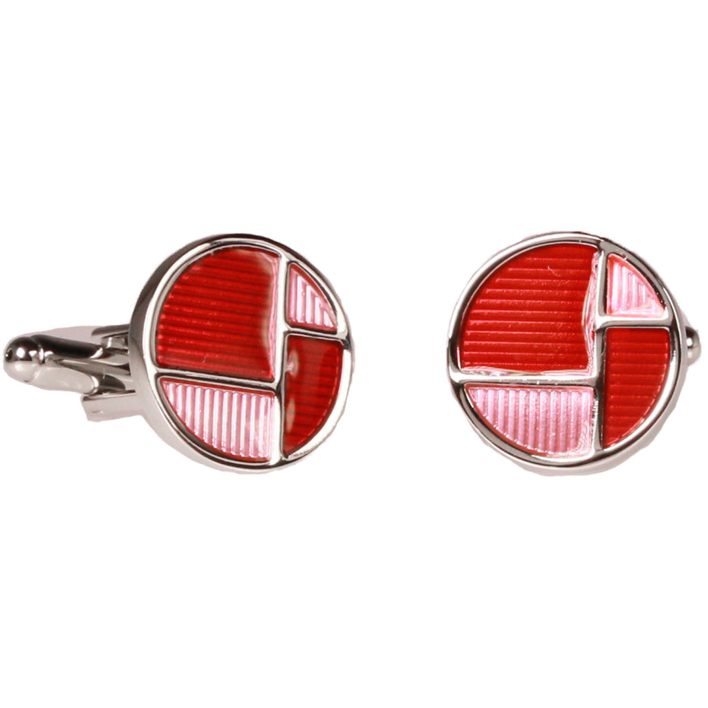 Silvertone Red Circle Geometric Pattern Cufflinks with Jewelry Box - Ferrecci USA