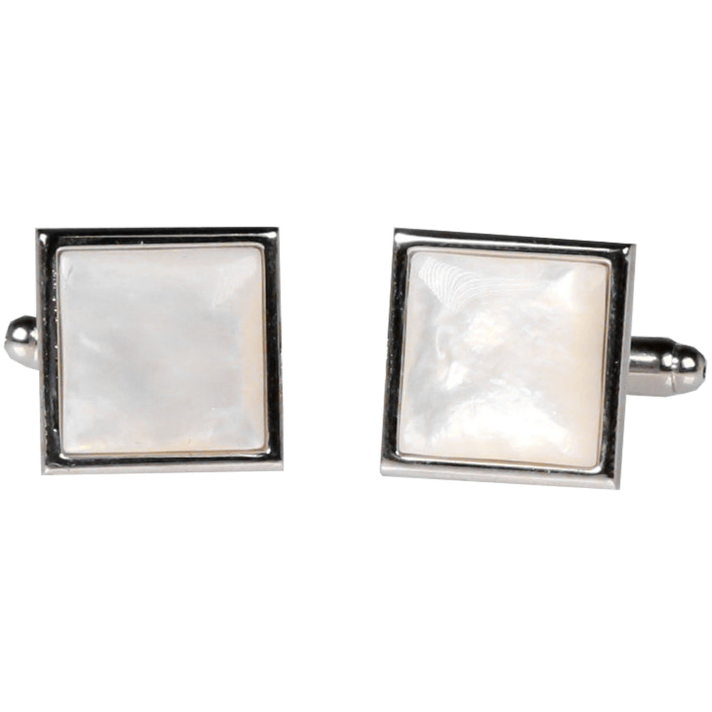 Silvertone Square Ivory Gemstone Cufflinks with Jewelry Box - Ferrecci USA