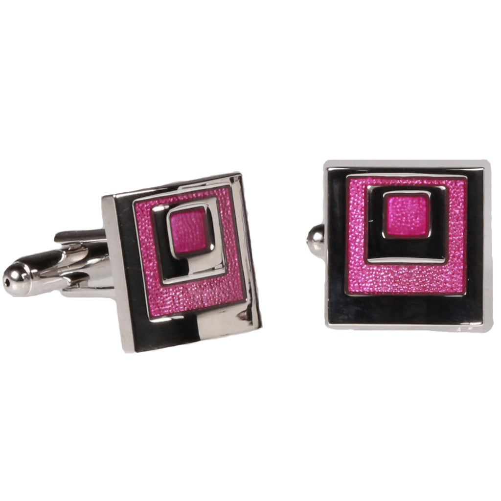 Silvertone Square Pink Geometric Cufflinks with Jewelry Box - Ferrecci USA