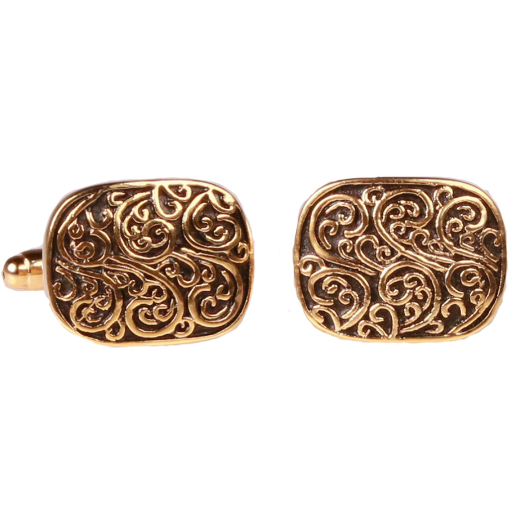 Square Gold Paisley Cufflinks with Jewelry Box - Ferrecci USA