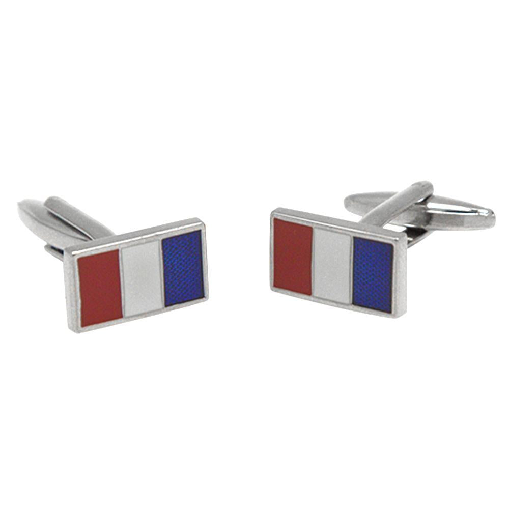 Silvertone Novelty French Flag Cufflinks with Jewelry Box - Ferrecci USA