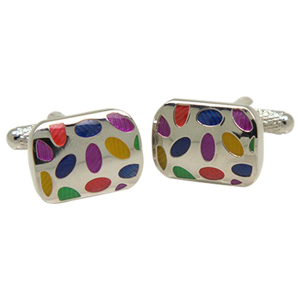 Silvertone Square Multicolor Dots Cufflinks with Jewelry Box - Ferrecci USA