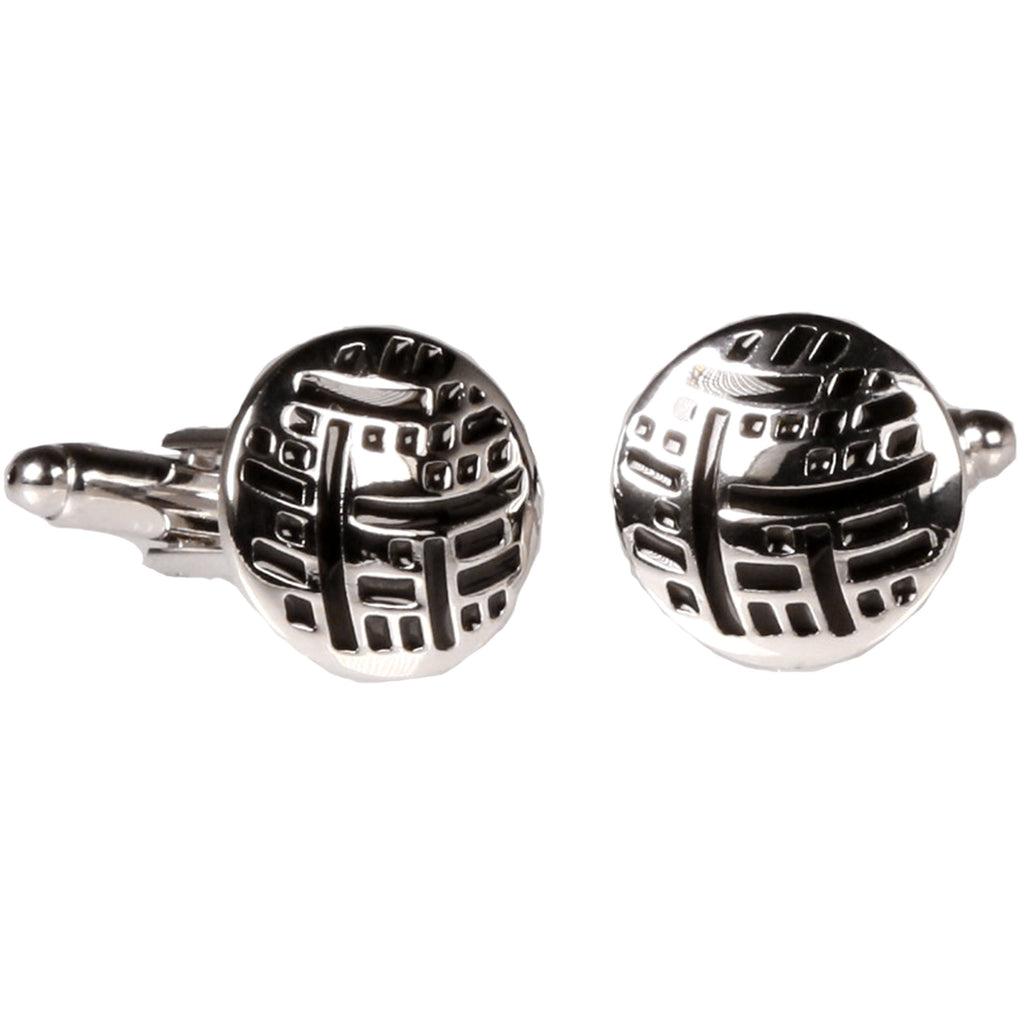 Silvertone Circle Black Geometric Cufflinks with Jewelry Box - Ferrecci USA