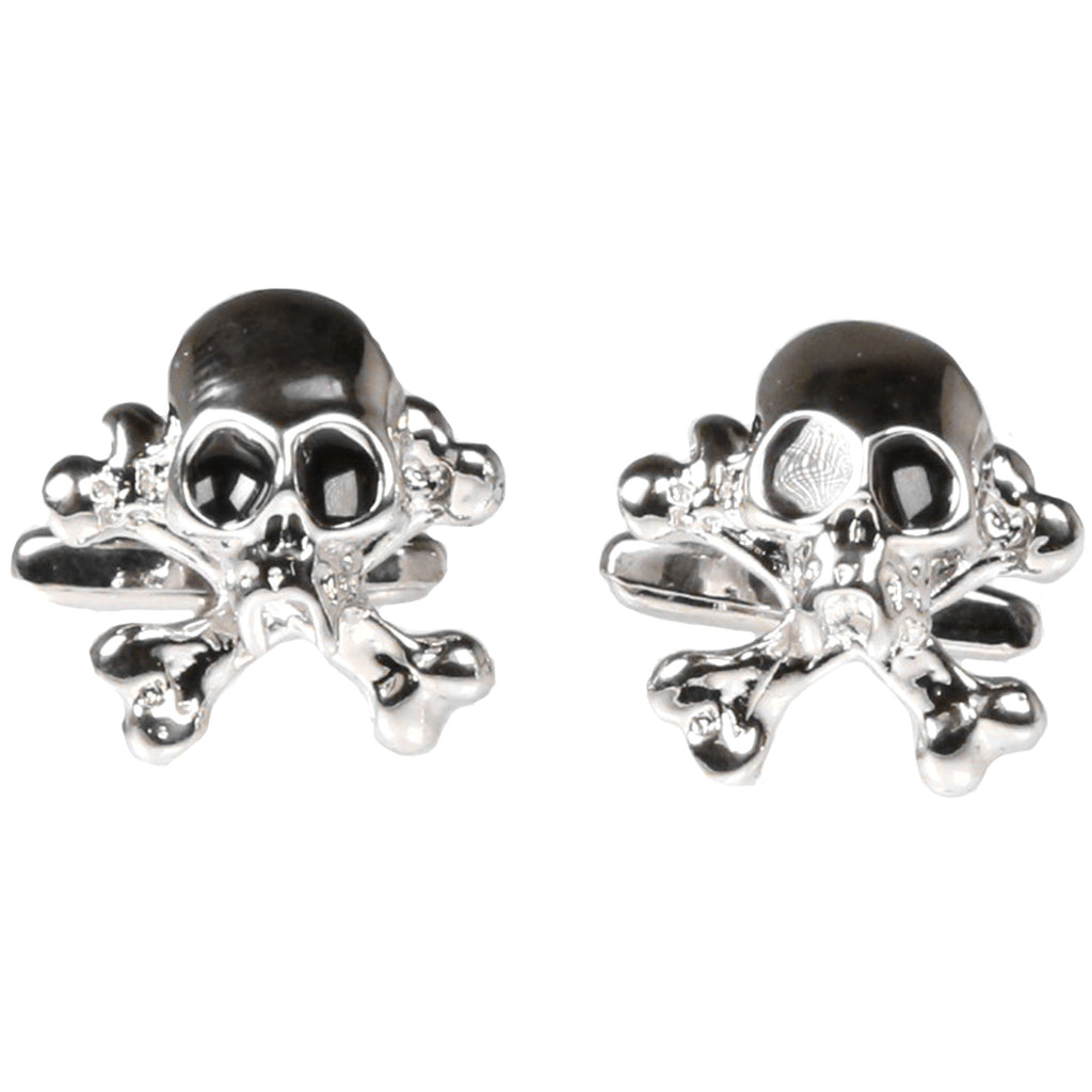 Silvertone Novelty Skull Cufflinks with Jewelry Box - Ferrecci USA
