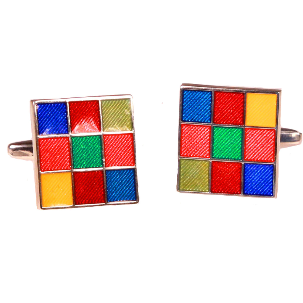 Silvertone Square Multicolor Cufflinks with Jewelry Box - Ferrecci USA