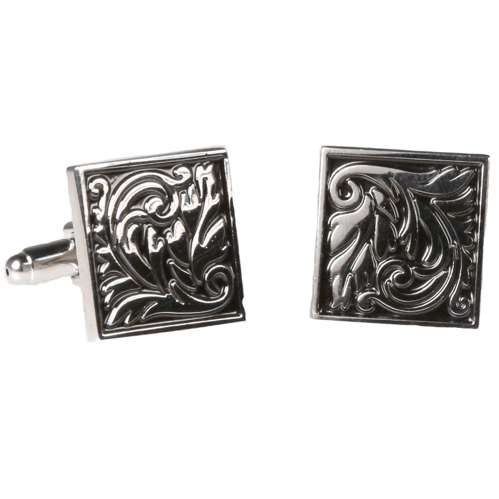Silvertone Square Geometric Pattern Cufflinks with Jewelry Box - Ferrecci USA