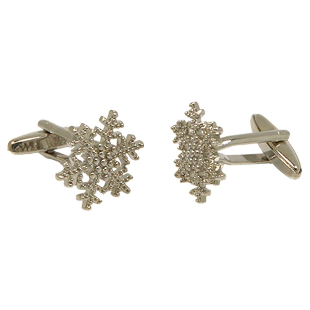 Silvertone Novelty Snowflake Cufflinks with Jewelry Box - Ferrecci USA