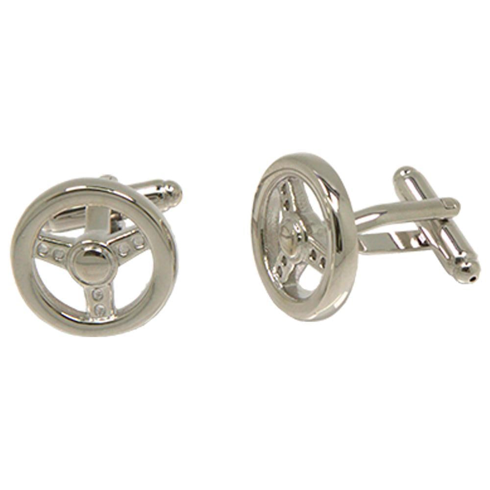 Silvertone Steering Wheel Cufflinks with Jewelry Box - Ferrecci USA
