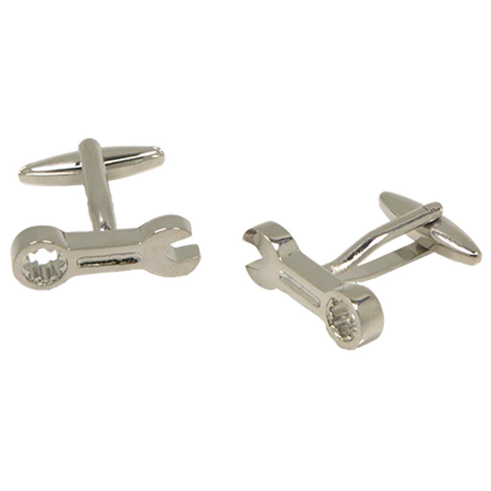 Silvertone Novelty Wrench Cufflinks with Jewelry Box - Ferrecci USA