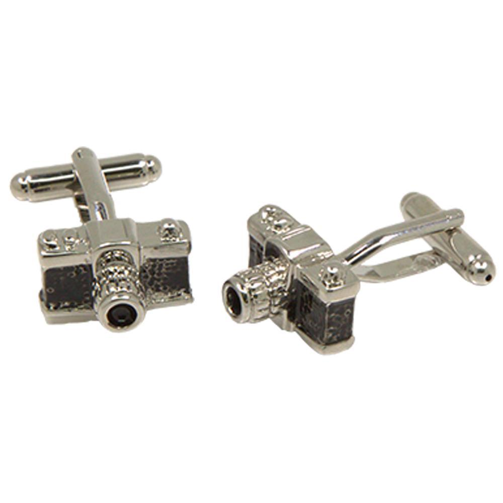 Silvertone Novelty Camera Cufflinks with Jewelry Box - Ferrecci USA