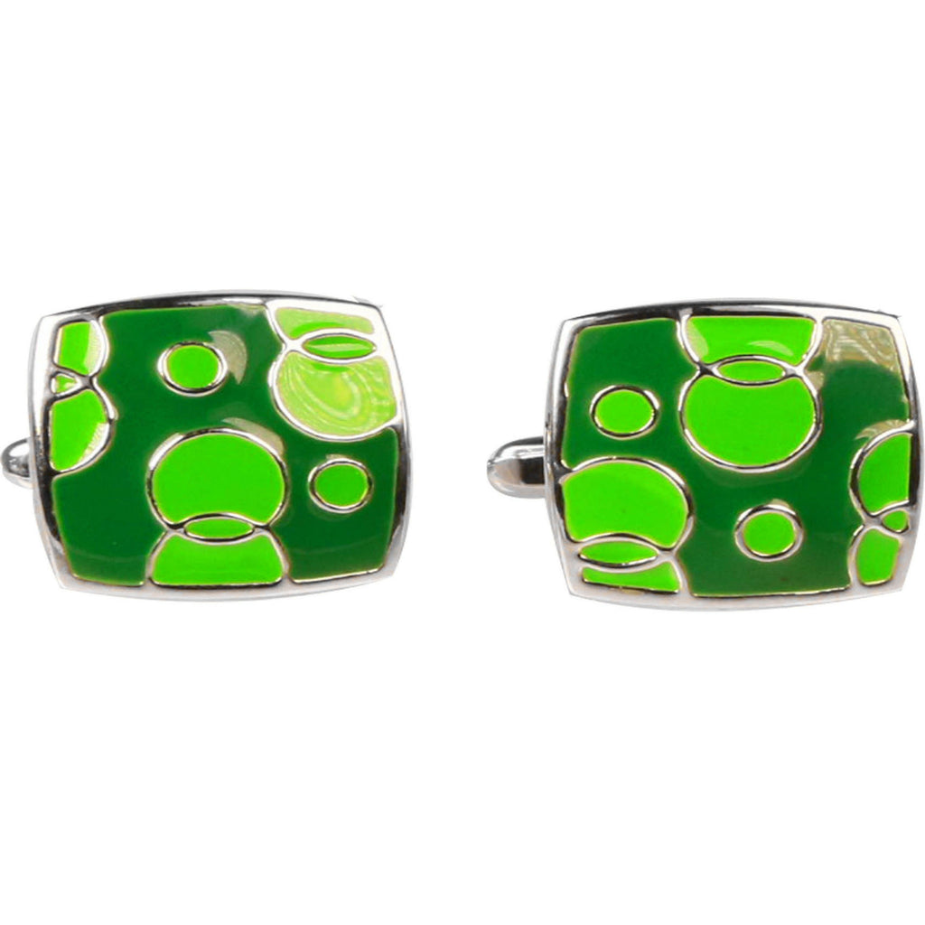Silvertone Green Geometric Bubble Pattern Cufflinks with Jewelry Box - Ferrecci USA