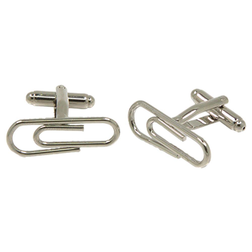 Silvertone Novelty Paperclip Cufflinks with Jewelry Box - Ferrecci USA