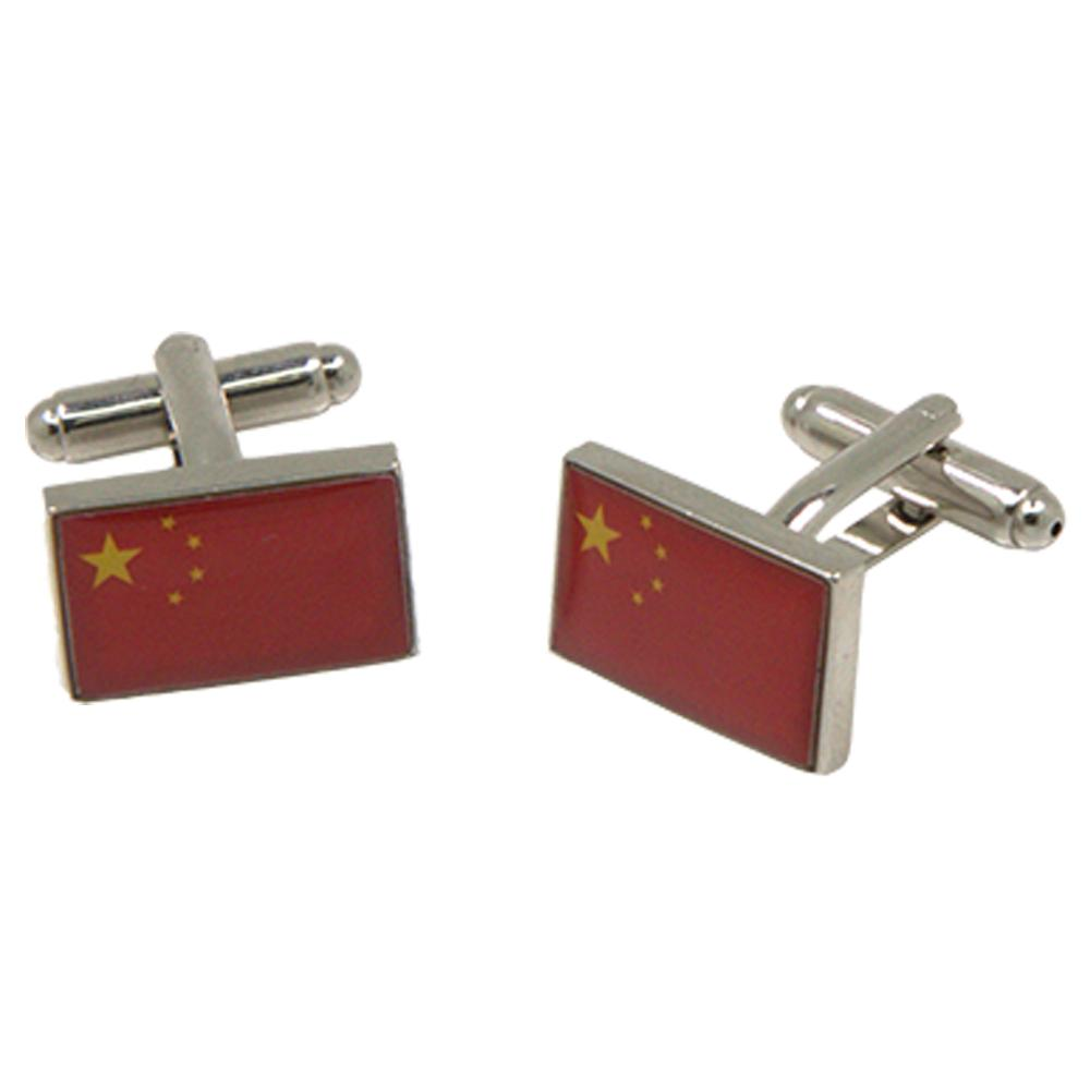 Silvertone Novelty Chinese Flag Cufflinks with Jewelry Box - Ferrecci USA