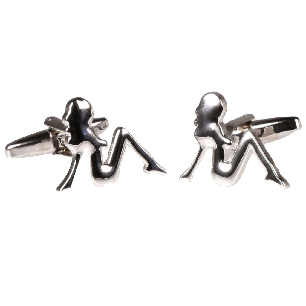 Silvertone Novelty Lady Cufflinks with Jewelry Box - Ferrecci USA