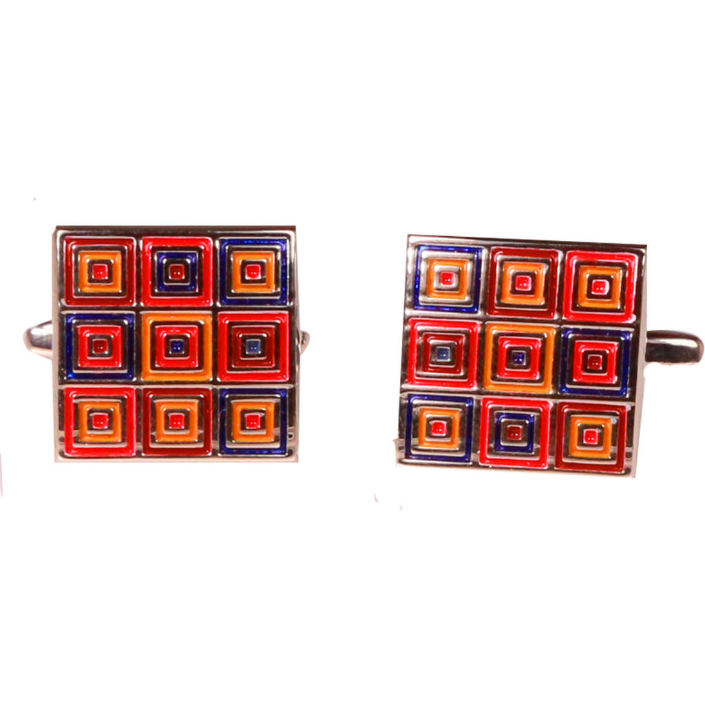Silvertone Orange Squares Cufflinks with Jewelry Box - Ferrecci USA
