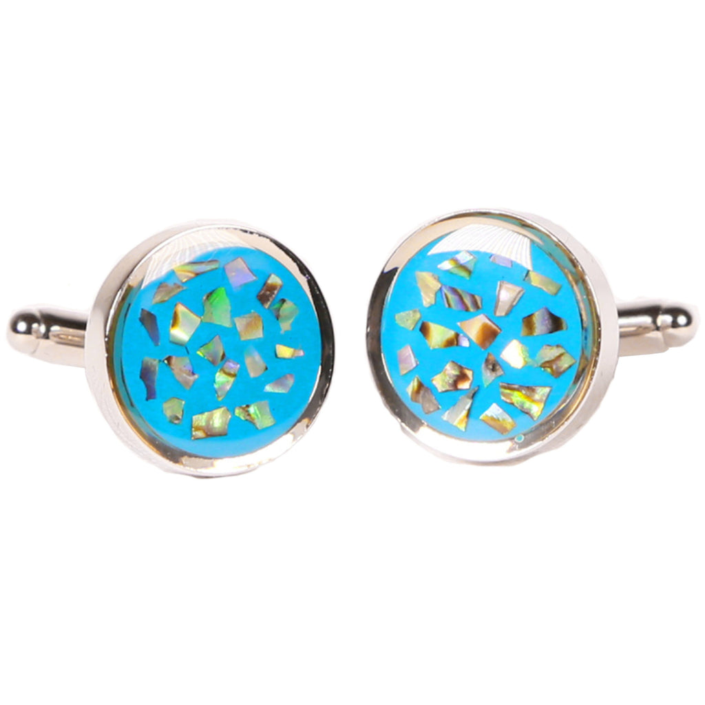 Silvertone Circle Geometric Blue Cufflinks with Jewelry Box - Ferrecci USA