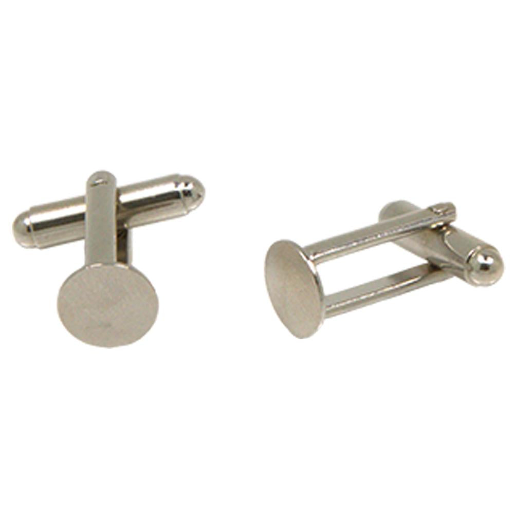 Silvertone Circle Cufflinks with Jewelry Box - Ferrecci USA