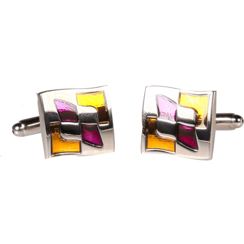 Silvertone Square Gold Purple Pattern Cufflinks with Jewelry Box - Ferrecci USA