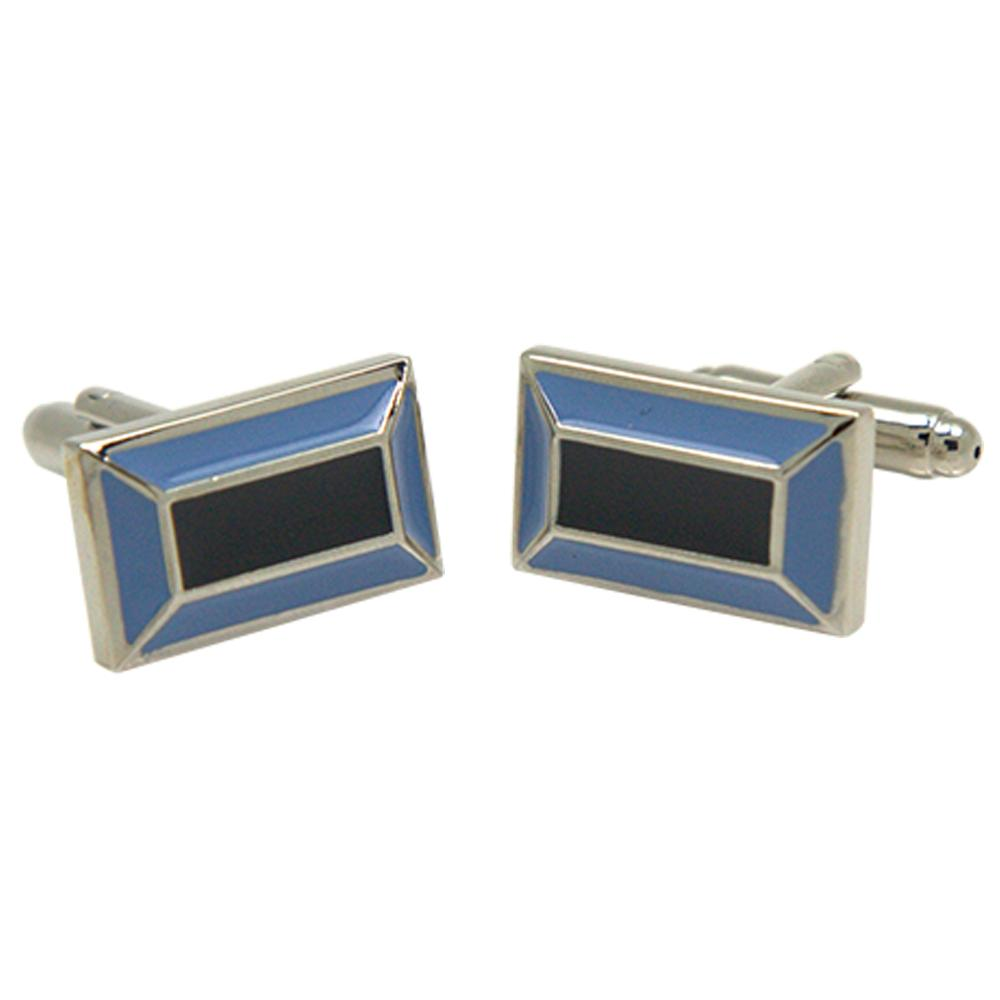 Silvertone Rectangle Blue Cufflinks with Jewelry Box - Ferrecci USA