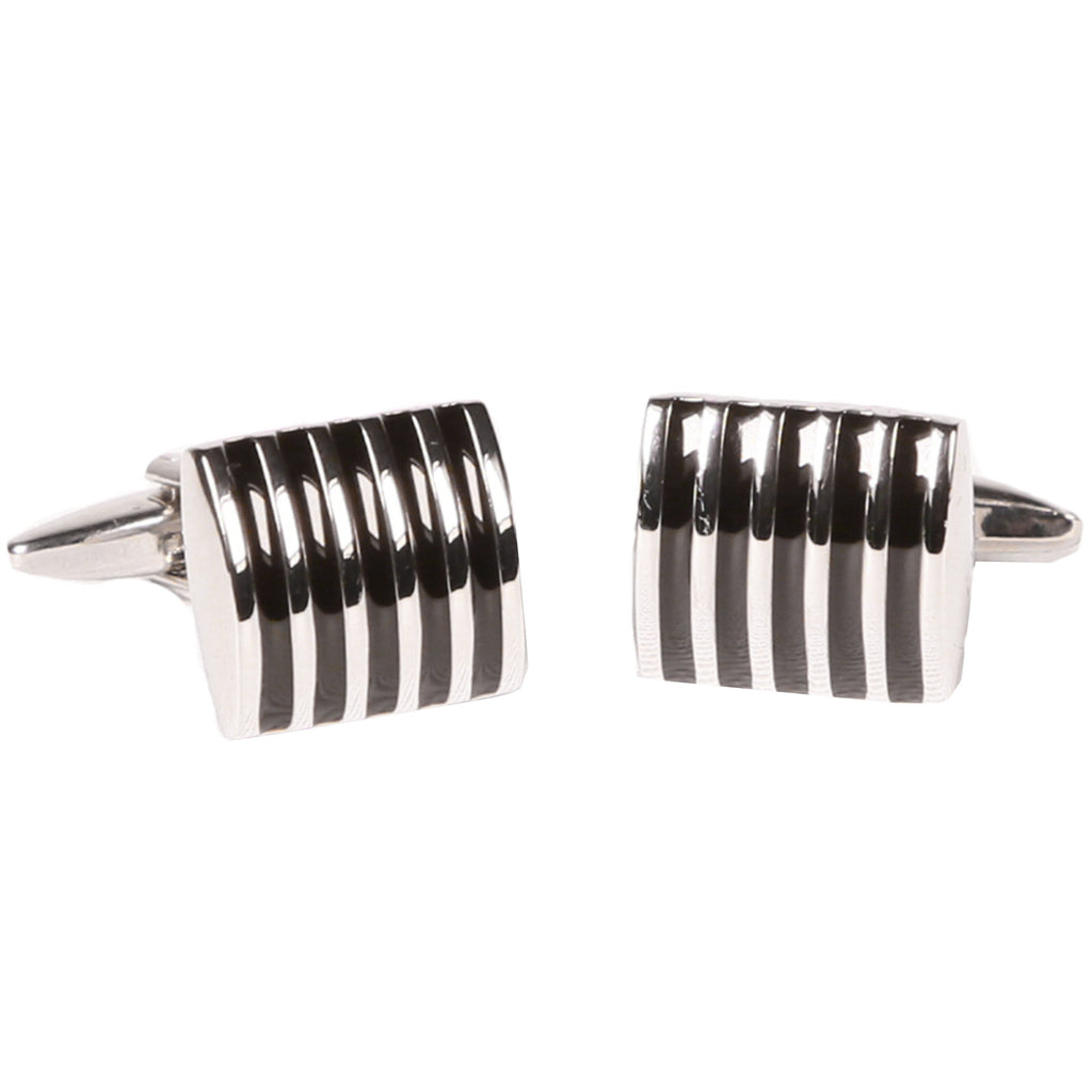 Silvertone Rectangular Stripe Cufflinks with Jewelry Box - Ferrecci USA