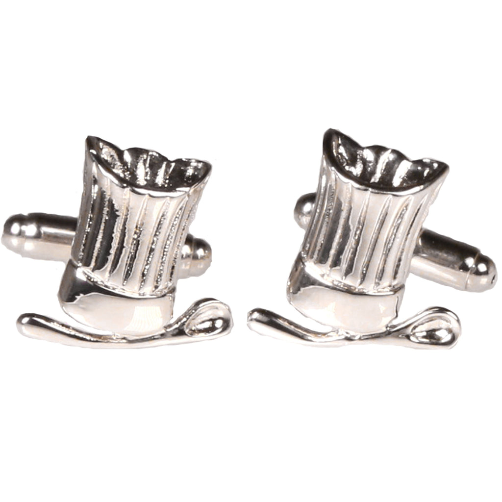 Silvertone Novelty Chef Hat Cufflinks with Jewelry Box - Ferrecci USA