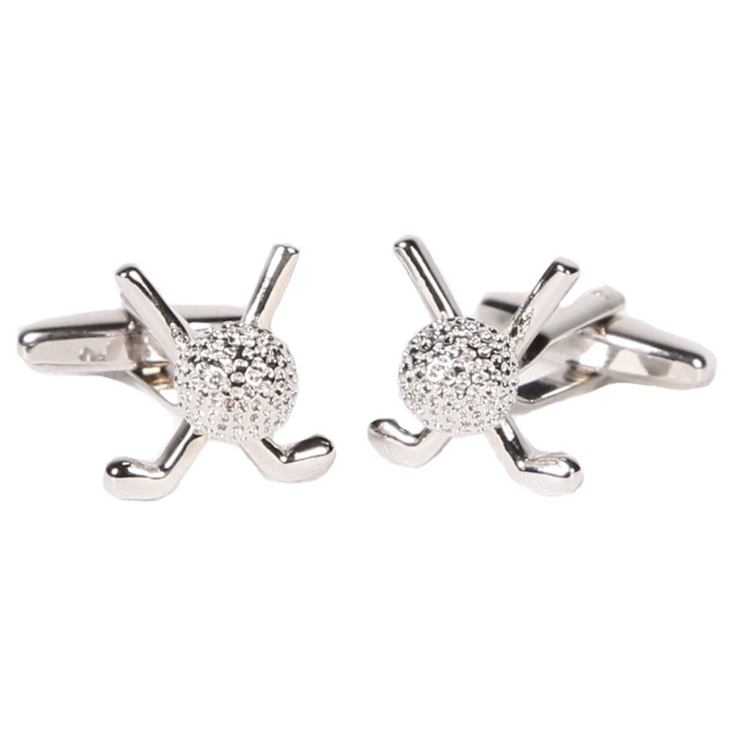 Silvertone Novelty Golf Clubs Cufflinks with Jewelry Box - Ferrecci USA