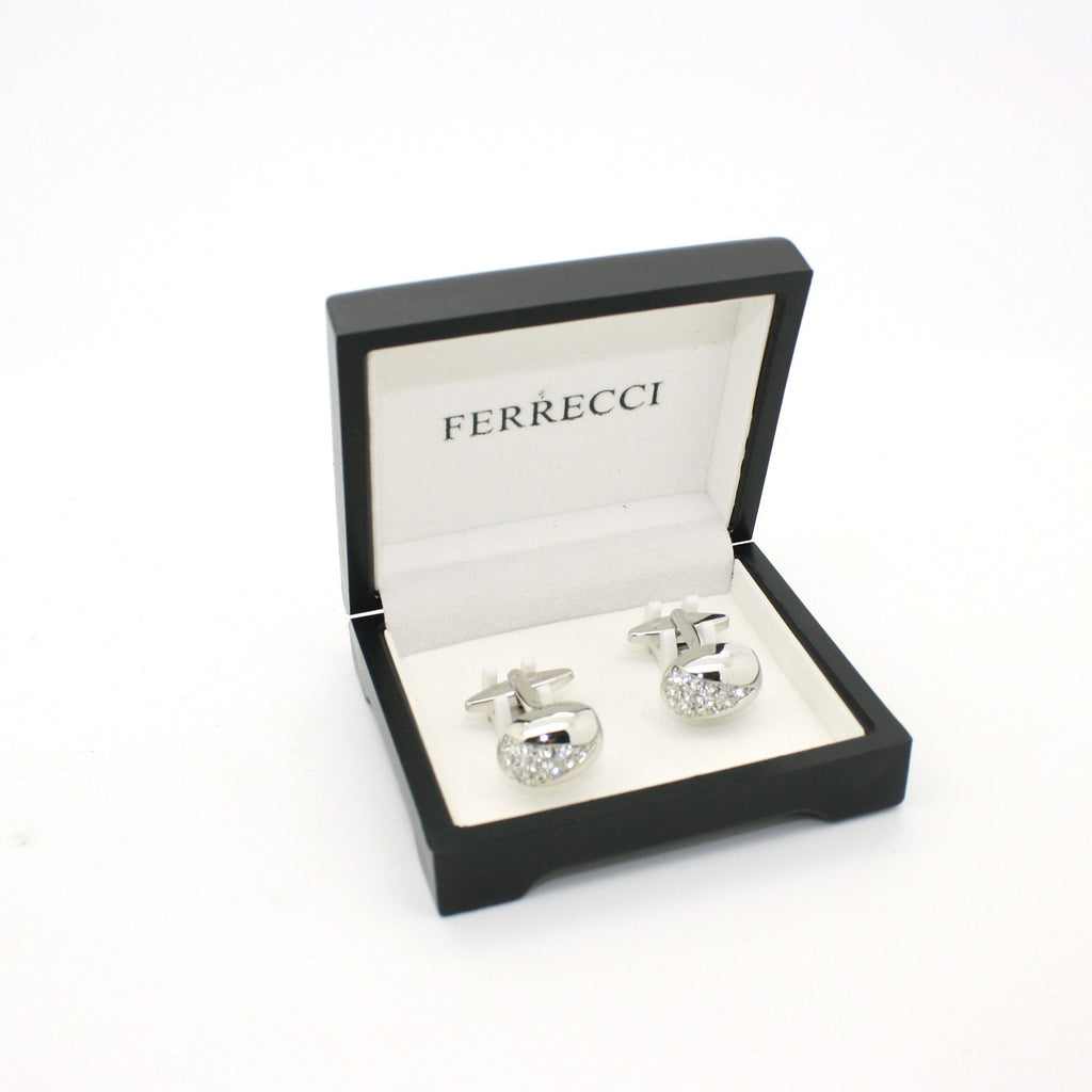 Silvertone Gemstone Cuff Links With Jewelry Box - Ferrecci USA