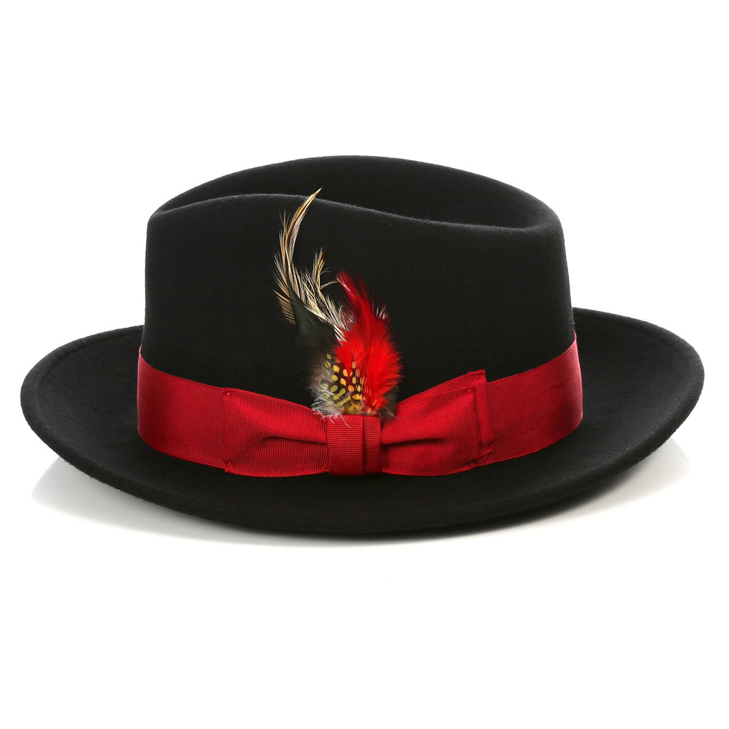 Crushable Black/Red Fedora Hat - Ferrecci USA
