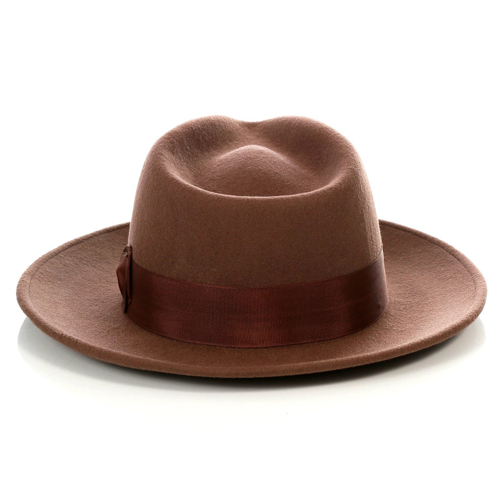 Crushable Brown Fedora Hat - Ferrecci USA