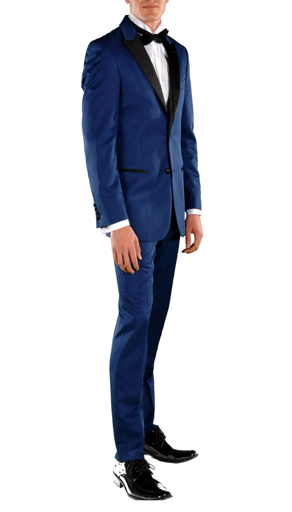 Dark Blue Slim Fit Peak Lapel 2pc Tuxedo - Crisp - Ferrecci USA