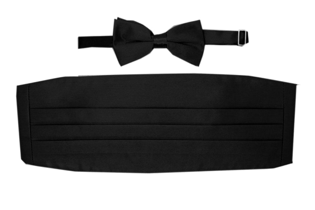 Satine Black Bow Tie & Cummerbund Set - Ferrecci USA