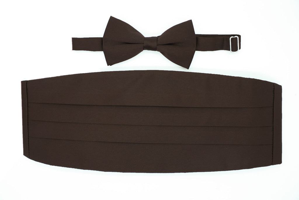 Satine Brown Bow Tie & Cummerbund Set - Ferrecci USA