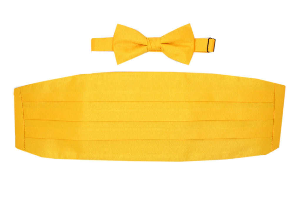 Satine Yellow Bow Tie & Cummerbund Set - Ferrecci USA