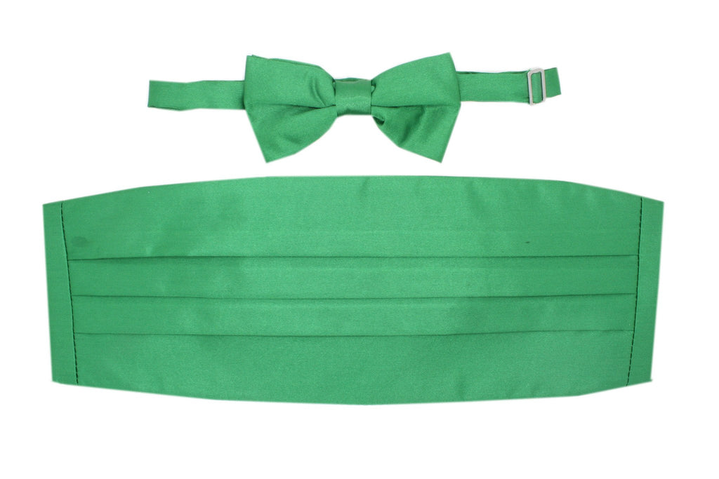 Satine Green Bow Tie & Cummerbund Set - Ferrecci USA