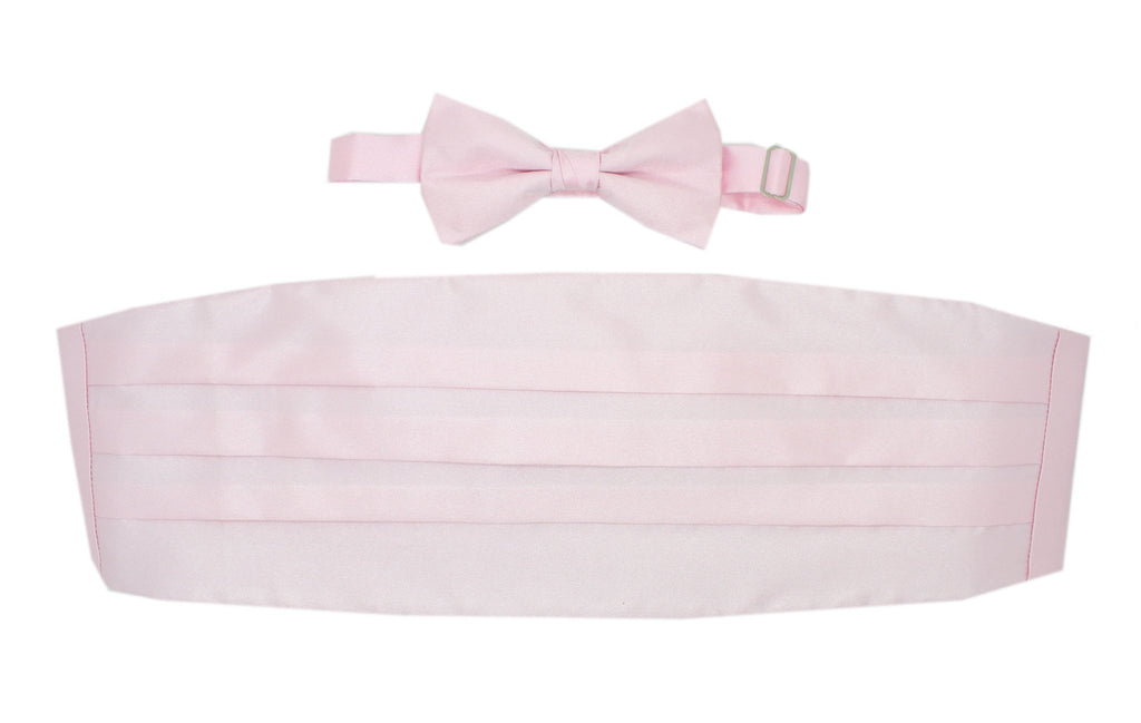 Satine Light Pink Bow Tie & Cummerbund Set - Ferrecci USA