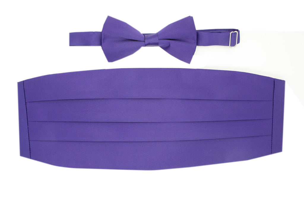 Satine Purple Bow Tie & Cummerbund Set - Ferrecci USA
