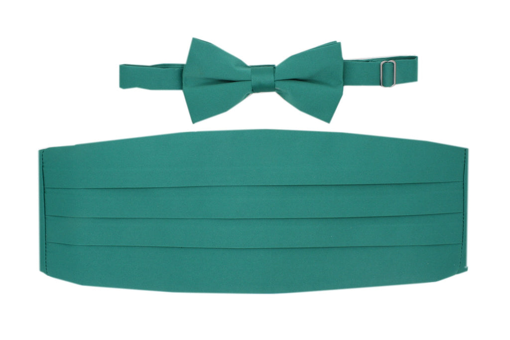 Satine Teal Bow Tie & Cummerbund Set - Ferrecci USA