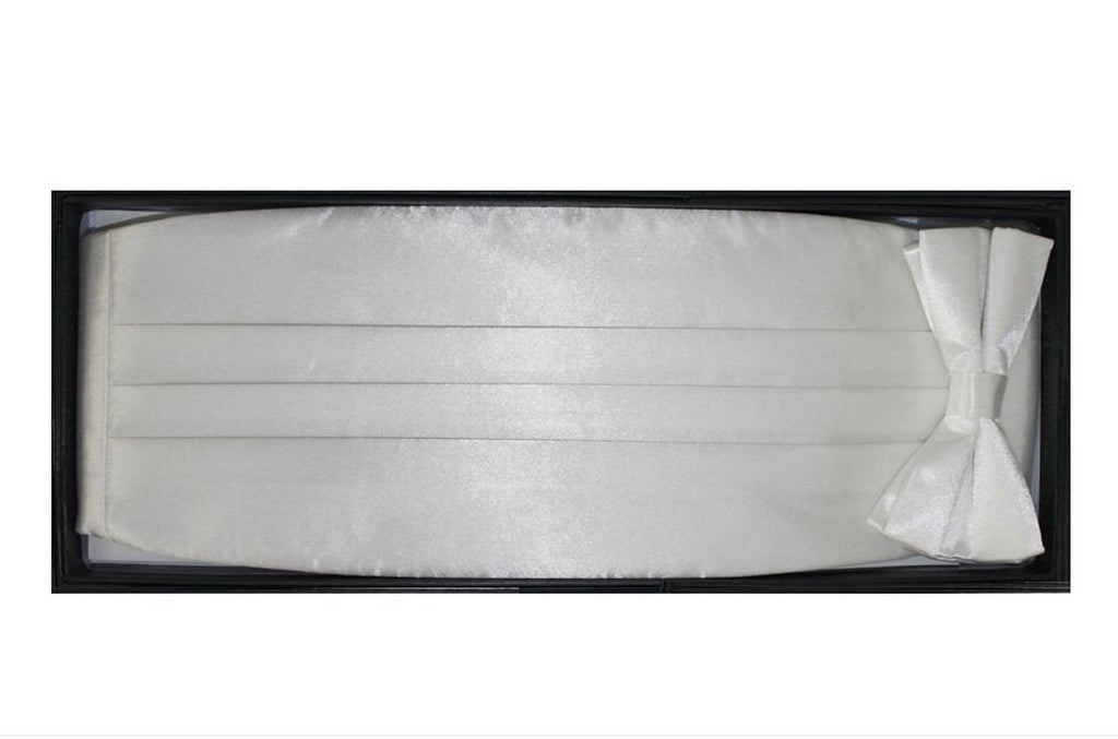 Satine White Bow Tie & Cummerbund Set - Ferrecci USA