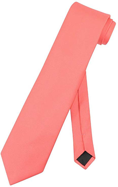 Vesuvio Napoli NeckTie Solid CORAL PINK Color Men's Neck Tie