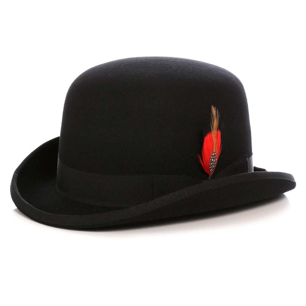 Premium Wool Black Derby Bowler Hat - Ferrecci USA