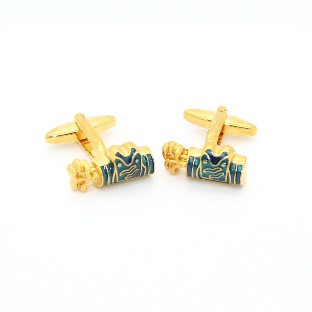 Goldtone Blue Wave Cuff Links With Jewelry Box - Ferrecci USA